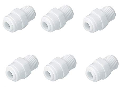 "PANISTHA 6 Pieces RO Outer Pre Filter Straight Connector 1/4"" Size Tube(Small Size Pipe) x 1/4"" Male Thread(Normal Size)"