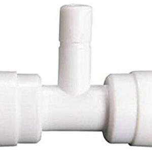 "PBROS 1 Pieces RO Elbows Stem Branch Tee Connector (1/4"" Tube OD x 1/4"" Tube OD x 1/4"" Stem Thread OD) T-Connectors for RO Hose Connector"