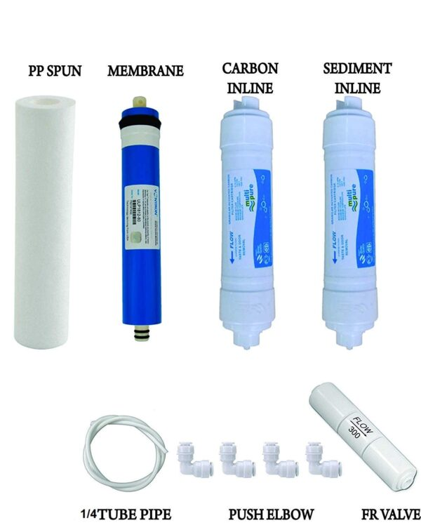 Complete RO Service Kit with High Tds Membrane inlines High Quality Carbon Inline+Spun Filter+fr+Pipe+Elbows for All Type Ro Water Purifiers