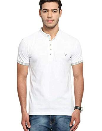 Men T Shirt Neck Tee Half Sleeves 100% Cotton Regular Fit Bio Washed – Medium Size White