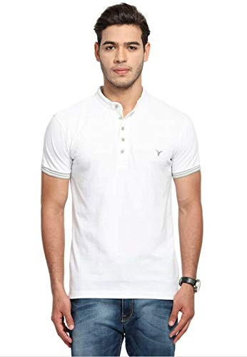 KK CASE Men T Shirt Neck Tee Half Sleeves 100% Cotton Regular Fit Bio Washed - Medium Size White