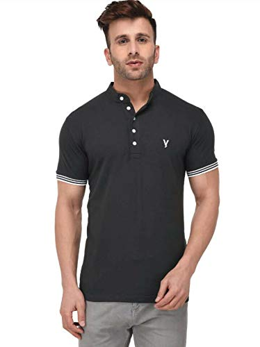 LB Men New T Shirt Neck Tee Half Sleeves 100% Cotton Regular Fit Bio Washed - X - Large Size Black
