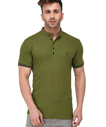 LB Men New T Shirt Neck Tee Half Sleeves 100% Cotton Regular Fit Bio Washed – Medium 38 Size Green