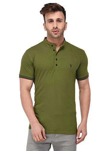 LB Men New T Shirt Neck Tee Half Sleeves 100% Cotton Regular Fit Bio Washed - Medium 38 Size Green