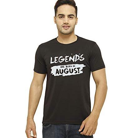 Men T Shirt O Neck Tee Half Sleeves Regular Fit Born in August Men's Cotton Printed T-Shirt Large Size (Large) (L)