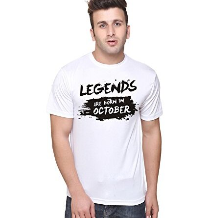 LB Men New T Shirt O Neck Tee Half Sleeves Regular Fit October Born Printed T-Shirt Large Size (L)