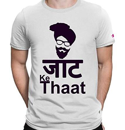 Men New T Shirt O Neck Tee Half Sleeves Regular Fit Jaat Ke Thaat Men's Cotton Printed T-Shirt Large Size (L)