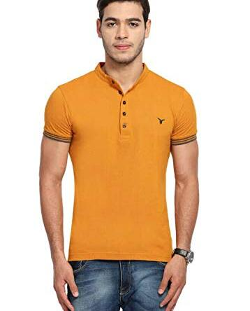 LB Men T Shirt Neck Tee Half Sleeves 100% Cotton Regular Fit Bio Washed – Medium 38 Size Yellow