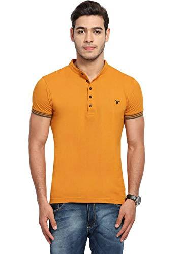 LB Men T Shirt Neck Tee Half Sleeves 100% Cotton Regular Fit Bio Washed - Medium 38 Size Yellow