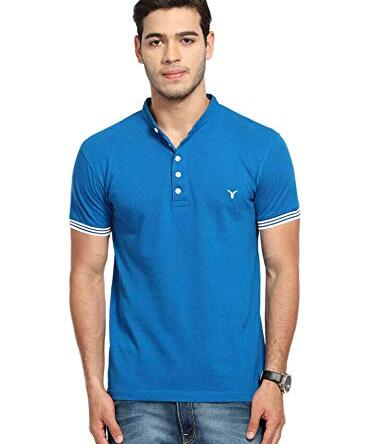 LB Men New T Shirt Neck Tee Half Sleeves 100% Cotton Regular Fit Bio Washed – Large Size Blue