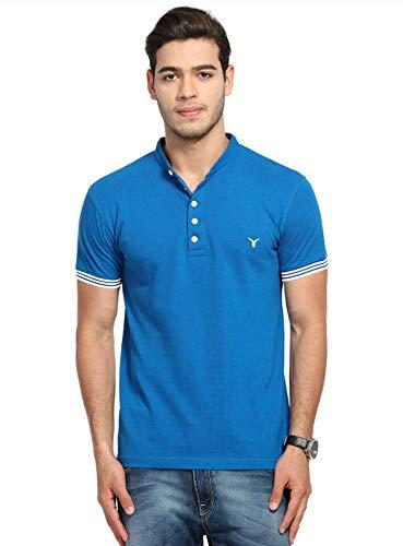 LB Men New T Shirt Neck Tee Half Sleeves 100% Cotton Regular Fit Bio Washed - Large Size Blue