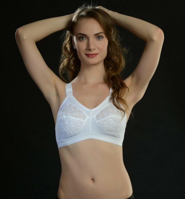 3 HOOK Cotton 100% Cotton Bra Soft Cup Unpadded Push Up WireFree Underwear