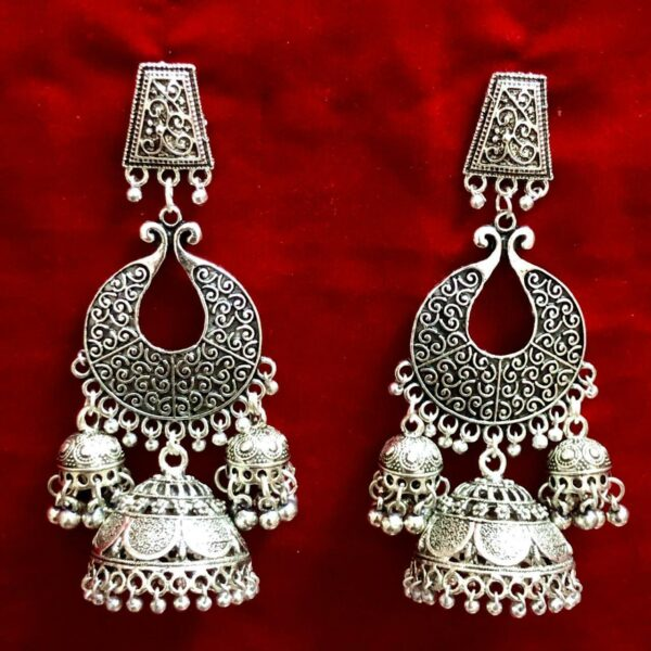 Indian Earrings Ethnic Traditional Mughal Jhumka Jhumki Silver Oxidized Jewelry