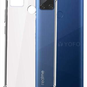 Vstec OO LALA JI Drop Tested Shock Proof Slim Mobile Cover (Soft & Flexible Shockproof Back Case with Cushioned Edges) for Realme C12 / Narzo 20 (Transparent)