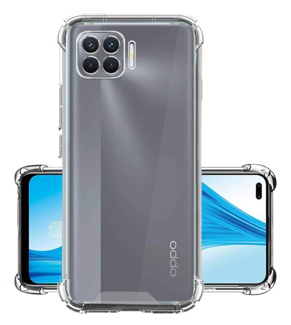 Vstec OO LALA JI Drop Tested Shock Proof Slim Mobile Cover (Soft & Flexible Shockproof Back Case with Cushioned Edges) for Oppo F17 Pro (Transparent)