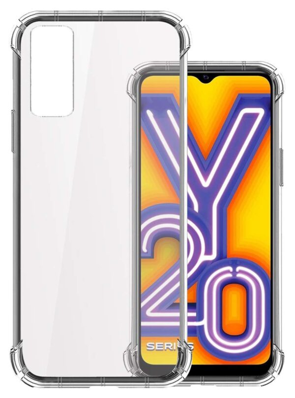 Vstec OO LALA JI Drop Tested Shock Proof Slim Mobile Cover (Soft & Flexible Shockproof Back Case with Cushioned Edges) for Vivo Y20 / Vivo Y20i (Transparent)