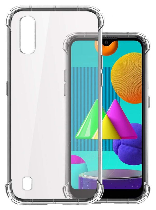 Vstec OO LALA JI Drop Tested Shock Proof Slim Mobile Cover (Soft & Flexible Shockproof Back Case with Cushioned Edges) for Samsung Galaxy M01 (Transparent)
