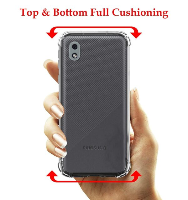 Vstec OO LALA JI Drop Tested Shock Proof Slim Mobile Cover (Soft & Flexible Shockproof Back Case with Cushioned Edges) for Samsung Galaxy M01 Core/Samsung Galaxy A01 Core (Transparent)
