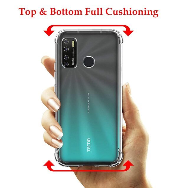 Vstec OO LALA JI Drop Tested Shock Proof Slim Mobile Cover (Soft & Flexible Shockproof Back Case with Cushioned Edges) for Tecno Spark 5 (Transparent)