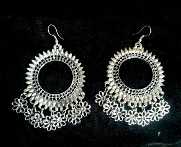 Antique Indian Traditional Kashmir Oxidized Jhumki Mughal Jhumka Silver Plated