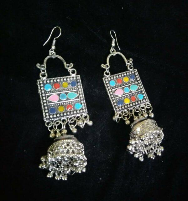 Mughal Indian Kashmir Antique Oxidized Jhumki Jhumka Silver Plated Bollywood