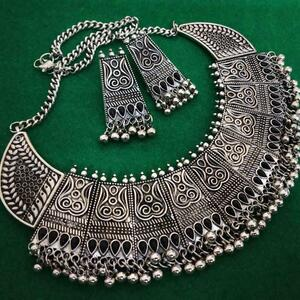 Silver Oxidized Plated Chowker Necklace Set Indian Ethnic Tribal Jewelry - Black