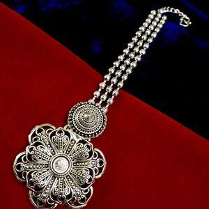 Bollywood Forehead Tikka Oxidized Indian Maang Tikka Metal Silver Plated