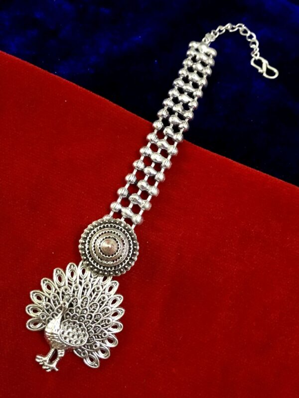 Oxidized Metal Silver Plated Latest Maang Tikka for Girls and Women
