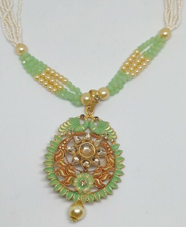 Green Indian Long Necklace Set Gold Plated Bollywood Bridal Pearl Mala Set