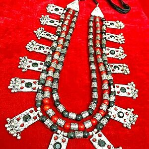 Bollywood Antique Long Heavy Silver Oxidized Plated 3 Line Black Stone Necklace
