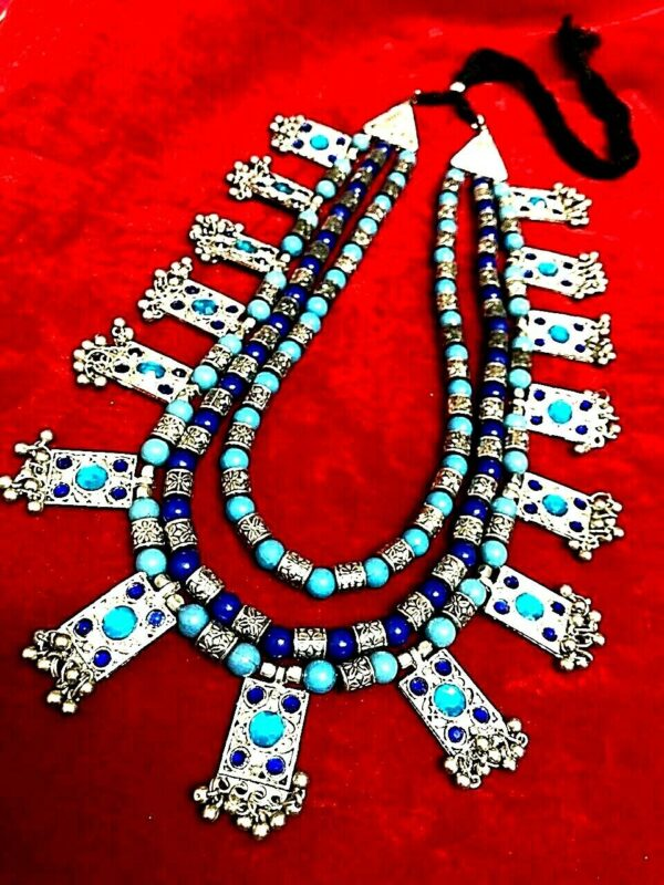 Bollywood Antique Long Heavy Silver Oxidized 3 Line Blue choker Necklace