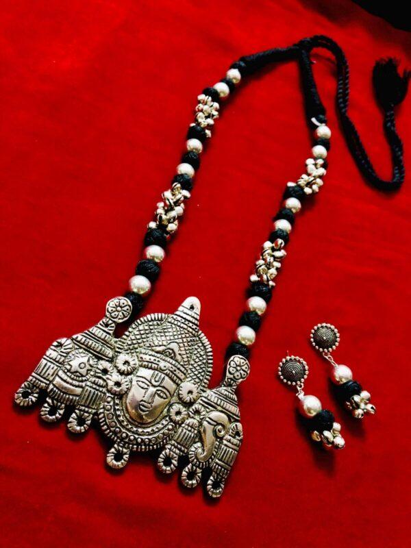 Indian Handicrafts Big Size Oxidized German Silver Lord Balaji Pendant Necklace