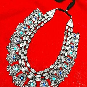 Women Necklace Bollywood Antique Vintage Silver Oxidized Style Lace 3 Line Stone