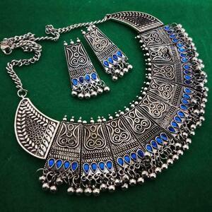 Kanthi Silver Oxidized Chowker Necklace Set Indian Ethnic Tribal Jewelry - Blue
