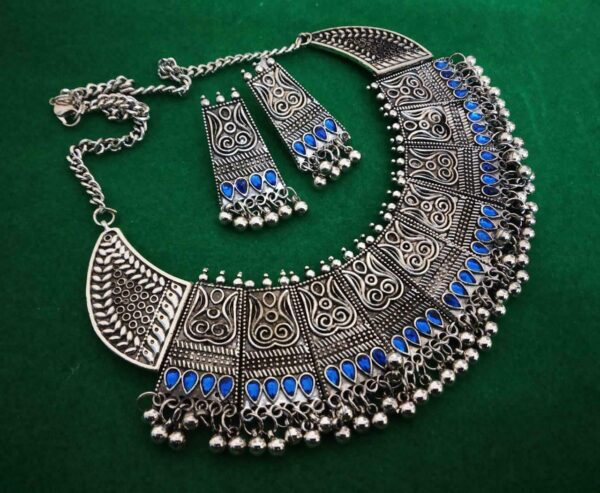 Kanthi Silver Oxidized Chowker Necklace Set Indian Ethnic Tribal Jewelry - Blue