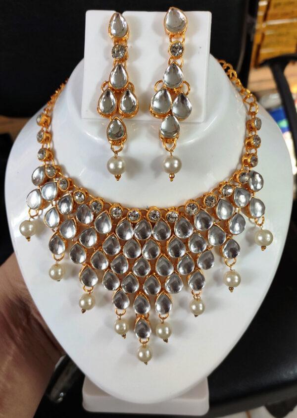 Indian Pakistani Bridal Kundan Pearl Haar Necklace Set For Women Fashion Jewelry