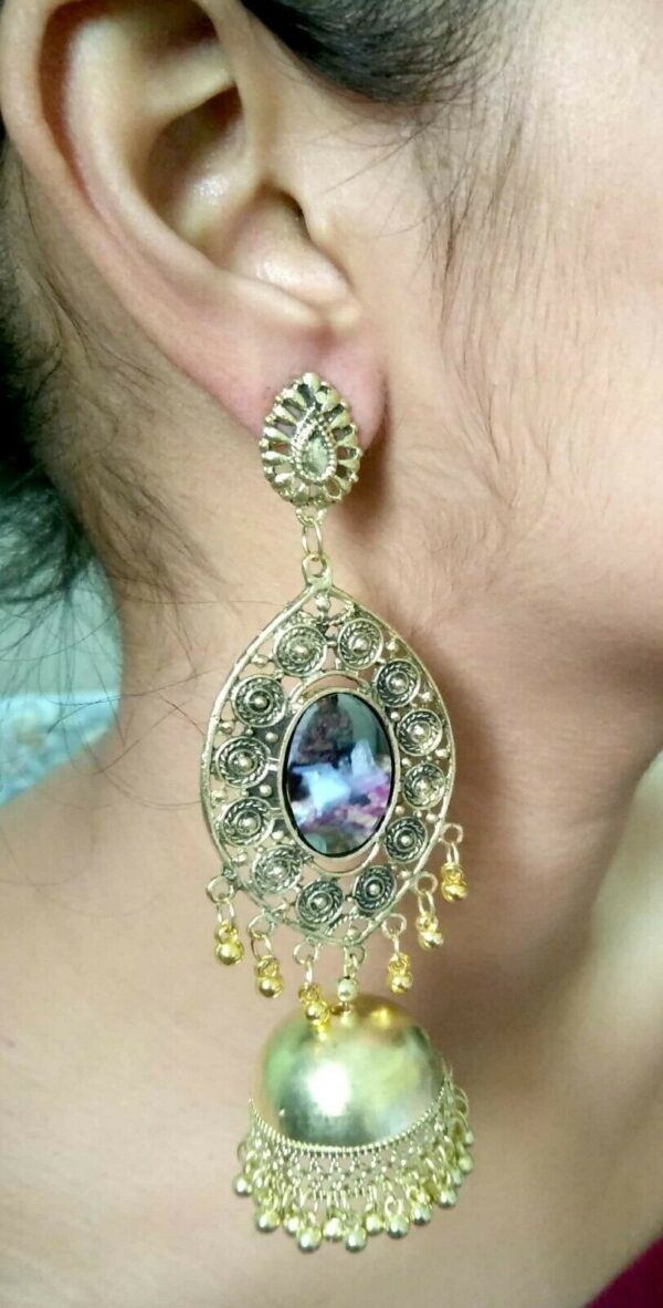 Antique Indian Kashmir Silver / Gold Plated Oxidized Jhumka Mughal Bollywood
