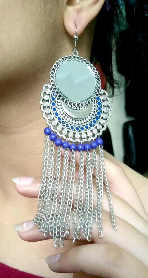 Antique Indian Tribal Oxidized Jhumki Mughal Jhumka Silver Plated Bollywood