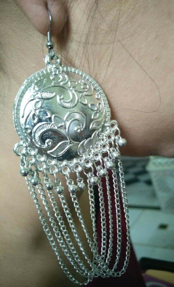 Antique Indian Kashmiri Oxidized Jhumki Mugal Jhumka Silver Plated Bollywood B01
