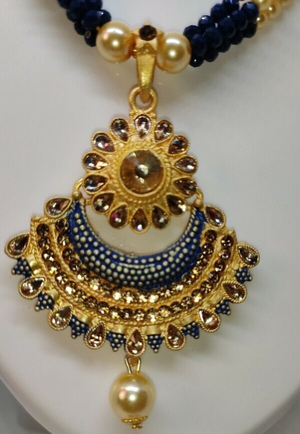 Indian Long Blue Necklace Set Gold Plated Bridal Pearl Mala Set Multi - D20