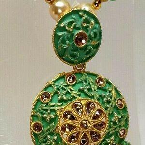 Multi Dark Color Indian Long Necklace Set Gold Plated Bridal Pearl Mala Set - D1