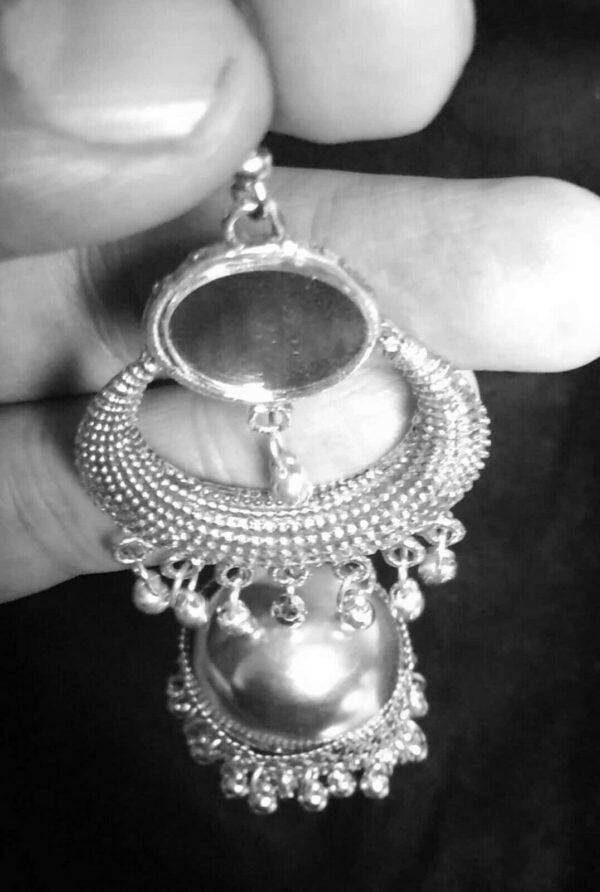 Antique Indian Kashmir Oxidized Boho Mughal Jhumki Silver Plated Bollywood