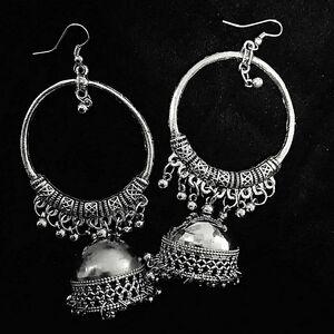 Antique Indian Kashmir Oxidized Mughal Jhumki Silver Plated Bollywood