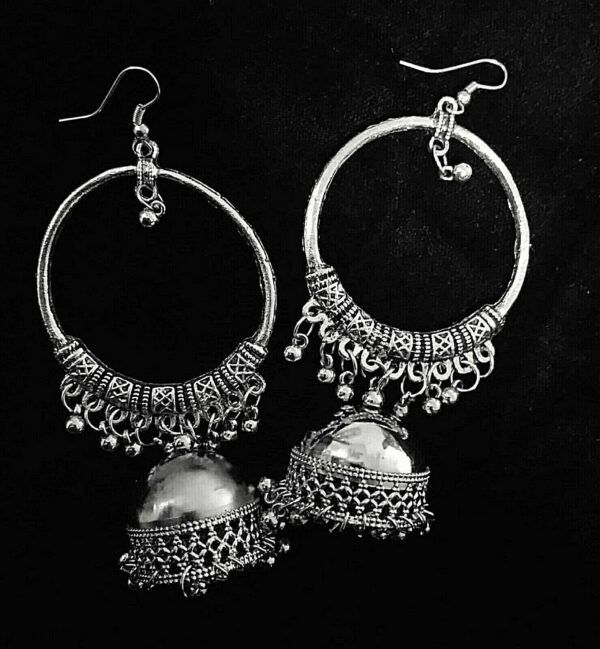 Antique Indian Kashmir Oxidized Mughal Jhumki Silver Plated Bollywood