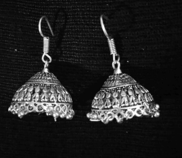 Cute Boho Indian Jhumki German Silver Plated Oxidized Bollywood Traditional