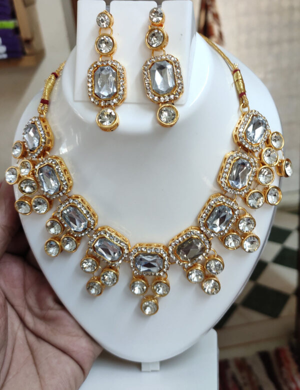 Indian Bollywood Style Kundan Gold Fashion Jewelry Bridal Choker Necklace Set
