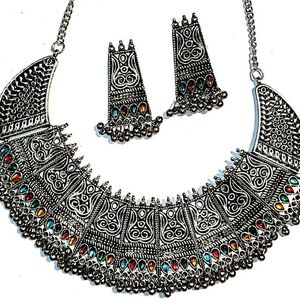 Zirconia Indian Ethnic Oxidized Silver Plated Choker Necklace set Afghani Jew...