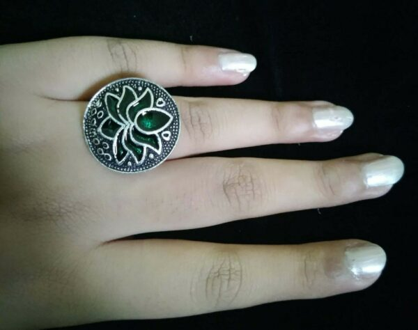 Bollywood Green Oxidized Silver Plated Adjustable Ring Fashion Jewelry women