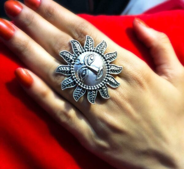 Sun Style Oxidized Silver Plated Adjustable Ring Fashion Jewelry women