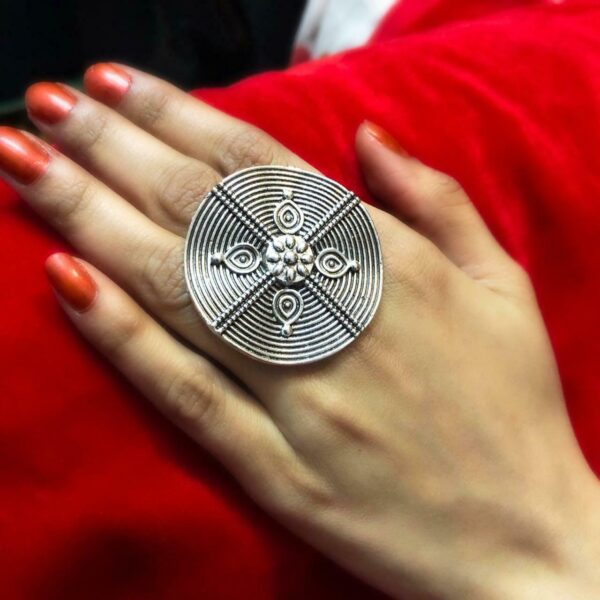 Afghani Jewelry Oxidized Silver Plated Adjustable Ring Fashion Jewelry women